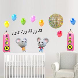 Stickers les souris font la fête