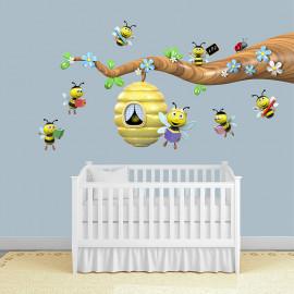 Stickers branche aux abeilles 2