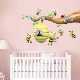 Stickers branche aux abeilles