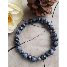 Bracelet en pierres naturelles OBSIDIENNE flocon de neige (Marc)
