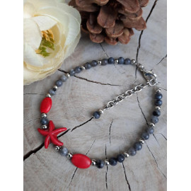 Bracelet en pierres naturelles LABRADORITE et HOWLITE (Amélie)
