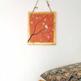 Tableau Peinture sur Bois Poétique Oiseau et Fleurs