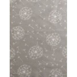 Tissu coton - pissenlit blanc sur fond gris - Oeko-Tex