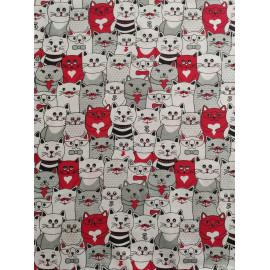 Tissu coton - Chats rouges et gris - Oeko-Tex