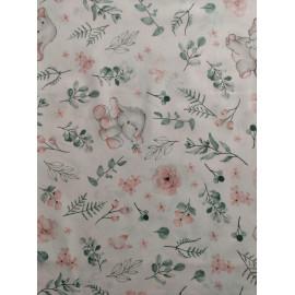 Tissu coton - Elephants avec des roses - Oeko-Tex