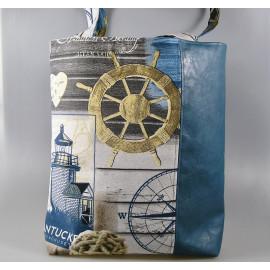 Tote bag, sac cabas doublé en coton et simili cuir esprit maritime bleu
