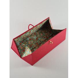 """Boîte """"trousse"""" à soufflets en papier simili cuir"""