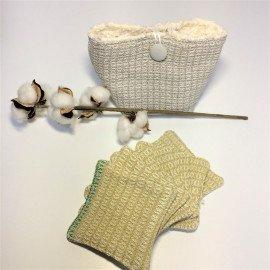 Pochette et lingettes coton BIO tissées main: Naturel/curry