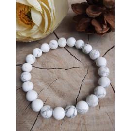 Bracelet homme/femme pierres naturelles HOWLITE givrée - Maud