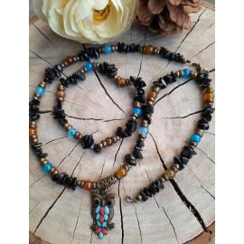 Parure collier et bracelet en pierres naturelles OBSIDIENNE, AGATE veine de dragon - Elana
