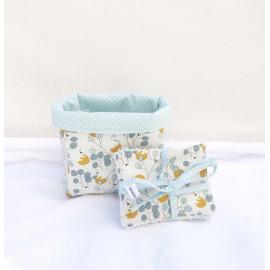 panier, corbeille, pochette de rangement réversible 4 lingettes bébé/maman original