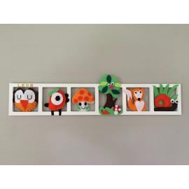 'BALLADE EN FORET', Déco murale chambre bébé , animaux de la foret , tons orange , rouge , vert et brun