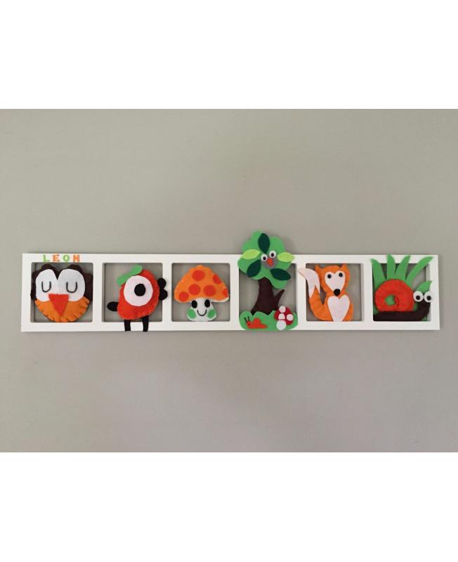 \'BALLADE EN FORET\', Déco murale chambre bébé , animaux de la foret , tons  orange , rouge , vert et brun