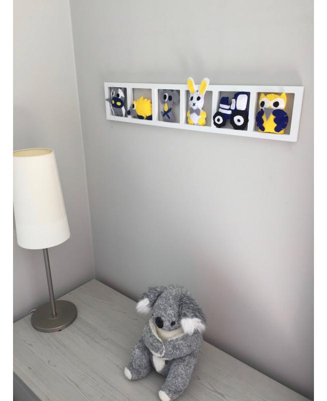 \'BIENVENUE A LA FERME \', Déco murale chambre bébé , animaux de la ferme,  tons gris jaune bleu