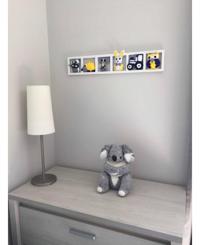 decoration chambre bebe animaux de la ferme , gris, jaune, bleu