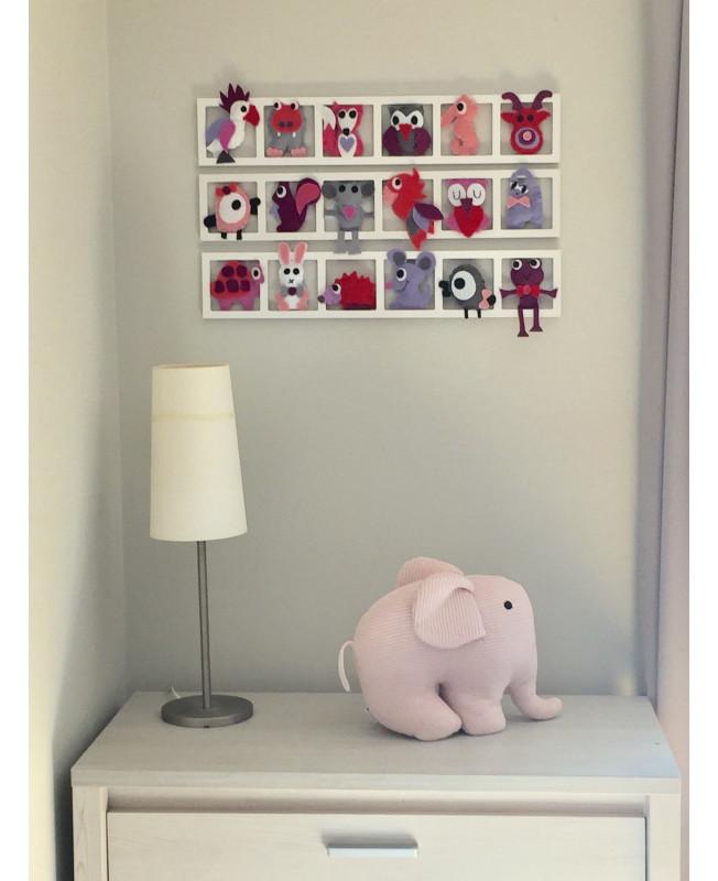 \' PINK PARADISE\'\', Déco murale chambre bébé fille, figurines tons gris ,  rose, mauve