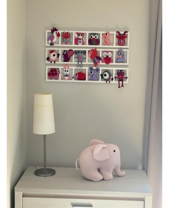decoration chambre fille, rose, lila, mauve, gris