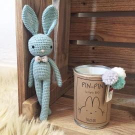 PIN-PIN le lapin avec son noeud papillon, coton BIO