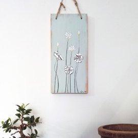 Tableau Zen en bois Lotus et feuilles en métal repoussé recyclé