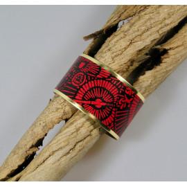 Bracelet manchette, jonc en laiton et papier japonais noir et rouge