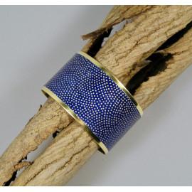 Bracelet manchette, jonc en laiton et papier japonais bleu et doré