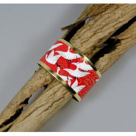 Bracelet manchette, jonc en laiton et papier japonais rouge et blanc grue