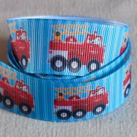 Ruban gros grain bleu avec camion de pompiers
