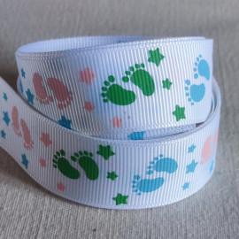 Ruban gros grain blanc avec pieds rose/bleu/vert