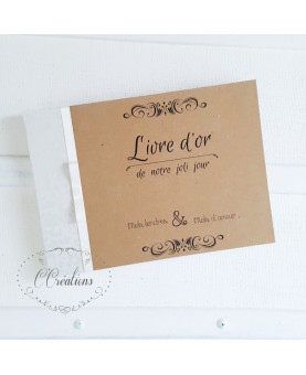 Livre d'or mariage  - Kraft - brun et ivoire, personnalisable