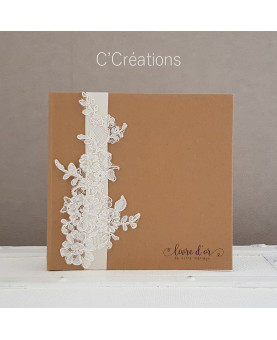 Livre d'or mariage - Calais & Kraft - coloris ivoire et brun kraft, personnalisable