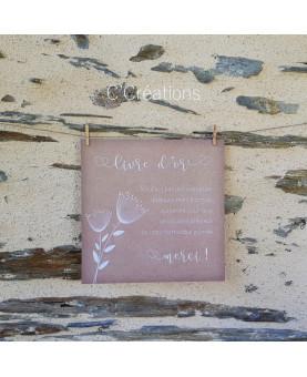 Affiche carrée pour stand Livre d'or de votre mariage, baptême ou anniversaire
