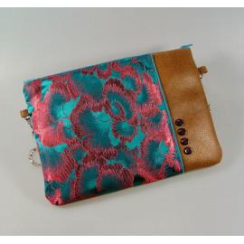 Pochette sac bandoulière tissus japonais fleurs bleu et rouge, simili cuir marron