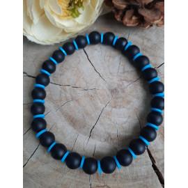 Bracelet homme/femme AGATE givrée, pierres naturelles et perles HEISHI - Oliver