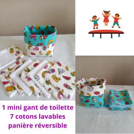 Cotons lavables + mini gant de toilette + panier réversible- éponge bambou, coton, coton enduit.