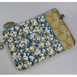 Pochette sac bandoulière tissus jacquard bleu et doré