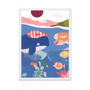 Affiche Baleine A3, les animaux de l'océan, idée cadeau, affiche chambre enfant, poster thème océan, décoration murale