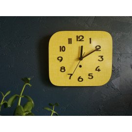 "Horloge vintage formica pendule murale silencieuse ""Jaune et Noire"""