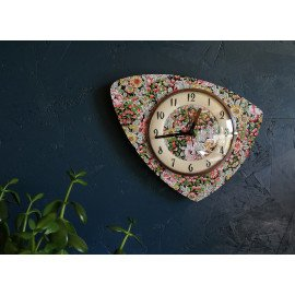 "Horloge formica vintage pendule murale silencieuse ""Cerises Fleurs"""