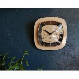 """Horloge vintage pendule murale silencieuse carrée """"SMI Beige Noire"""""""
