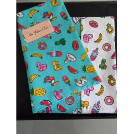 Protège cahier en coton enduit et coton - Protège carnet de santé - Protège cahier