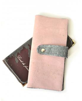 Couverture livret de famille en liège rose poudre et gris, cadeau mariage & naissance, couverture de protection fait-main, liège