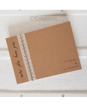 Livre d'or mariage - Beau jour - coloris kraft et dentelle ivoire