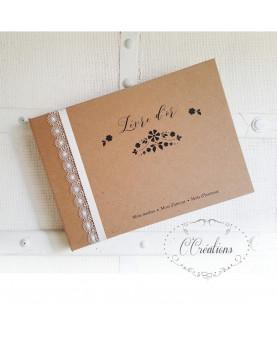 Livre d'or mariage - Flower Kraft - coloris brun et ivoire, personnalisable