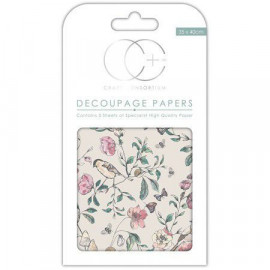 Papier décoratif à coller - Oiseaux - 35 x 40 cm - Craft Consortium