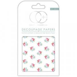Papier décoratif à coller - Boutons de rose - 35 x 40 cm - Craft Consortium
