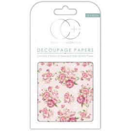 Papier décoratif à coller - Roses et pois - 35 x 40 cm - Craft Consortium