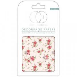 Papier décoratif à coller - Roses sur fond crème - 35 x 40 cm - Craft Consortium