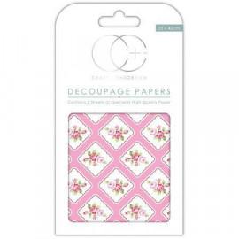 Papier décoratif à coller - Roses et damier - 35 x 40 cm - Craft Consortium