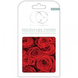 Papier décoratif à coller - Roses rouges - 35 x 40 cm - Craft Consortium