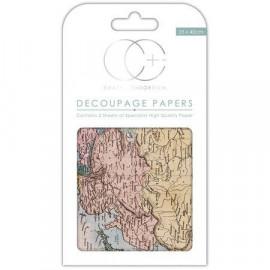 Papier décoratif à coller - Carte ancienne - 35 x 40 cm - Craft Consortium